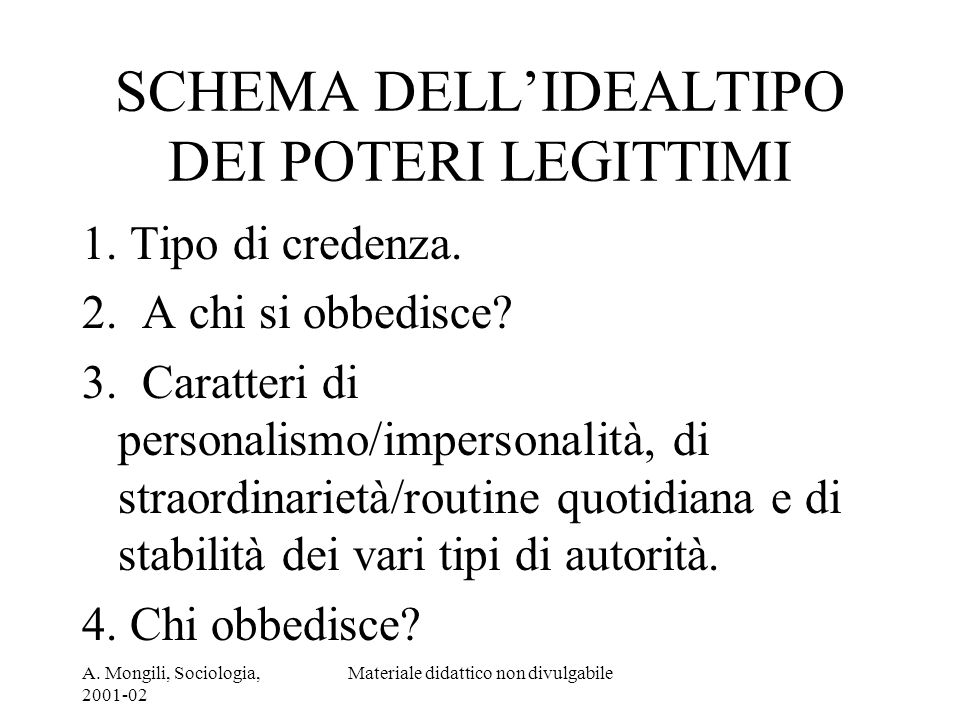 SCHEMA DELL'IDEALTIPO DEI POTERI LEGITTIMI