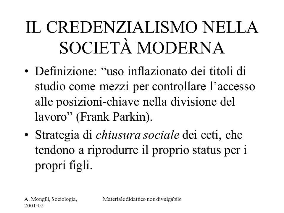 IL CREDENZIALISMO NELLA SOCIETÀ MODERNA
