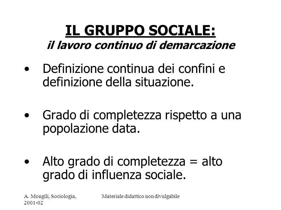 IL GRUPPO SOCIALE: il lavoro continuo di demarcazione