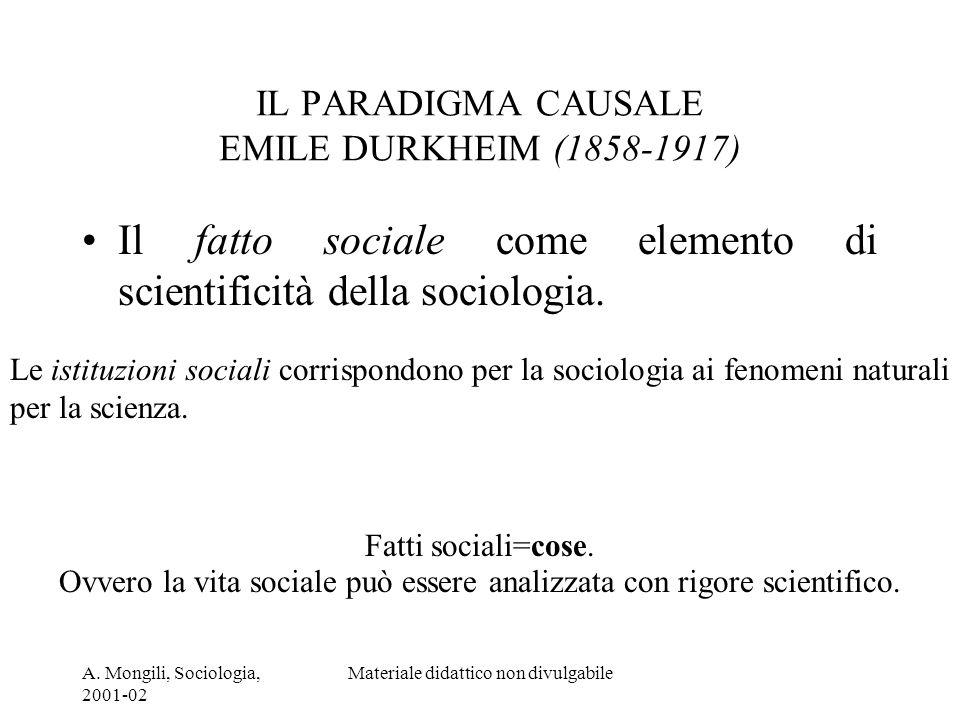 IL PARADIGMA CAUSALE EMILE DURKHEIM (1858-1917)