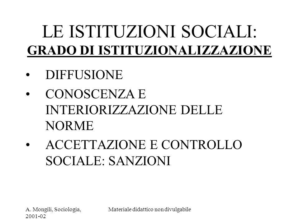 LE ISTITUZIONI SOCIALI: GRADO DI ISTITUZIONALIZZAZIONE