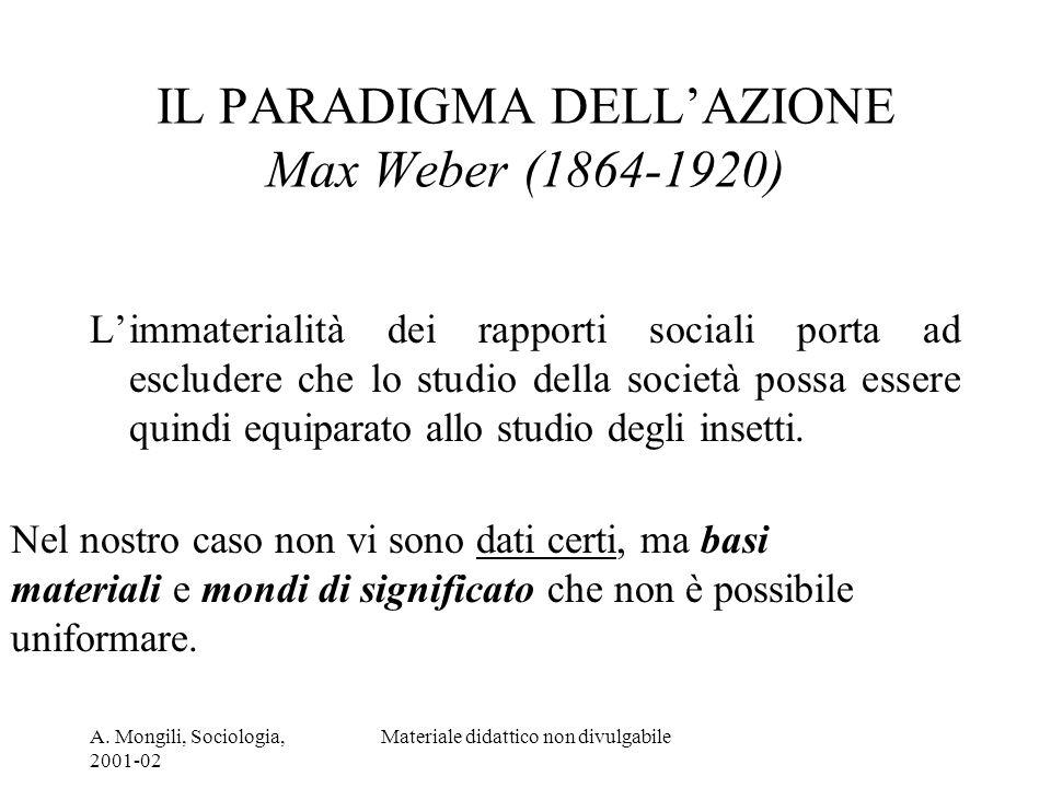 IL PARADIGMA DELL'AZIONE Max Weber (1864-1920)
