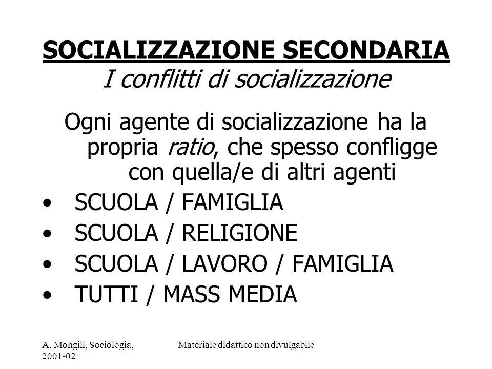 SOCIALIZZAZIONE SECONDARIA I conflitti di socializzazione
