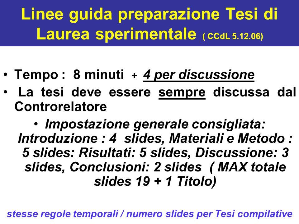 Linee guida preparazione Tesi di Laurea sperimentale ( CCdL 5.12.06)
