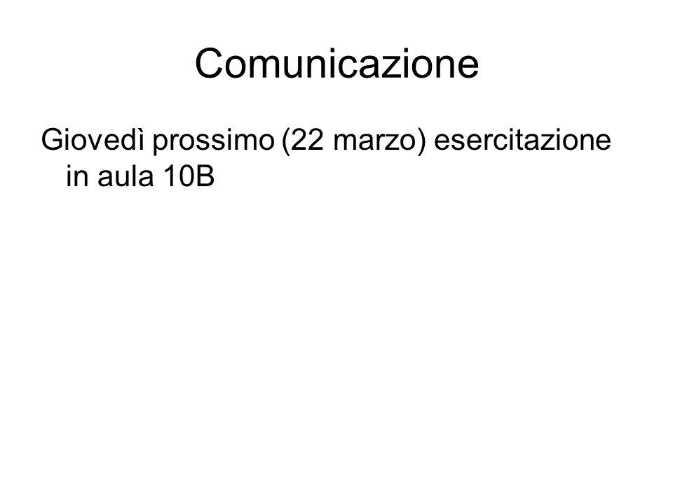 Comunicazione Giovedì prossimo (22 marzo) esercitazione in aula 10B