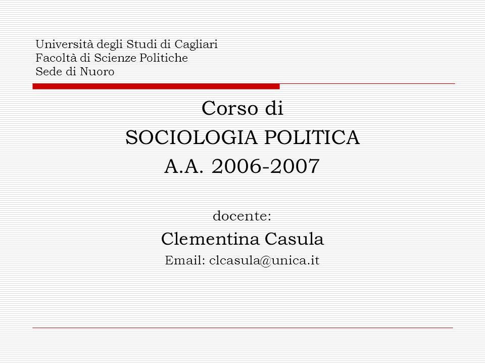 Corso di SOCIOLOGIA POLITICA A.A. 2006-2007 Clementina Casula docente: