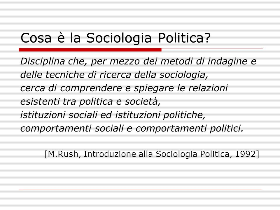 Cosa è la Sociologia Politica