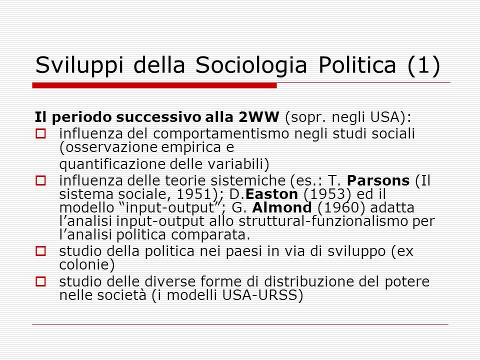 Sviluppi della Sociologia Politica (1)