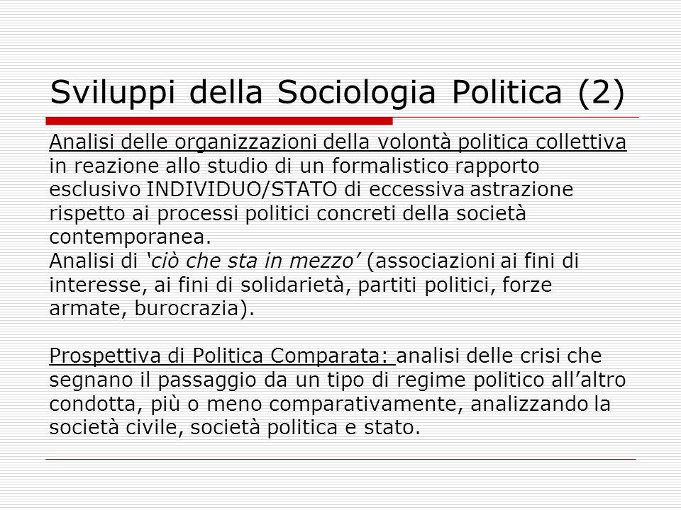 Sviluppi della Sociologia Politica (2)