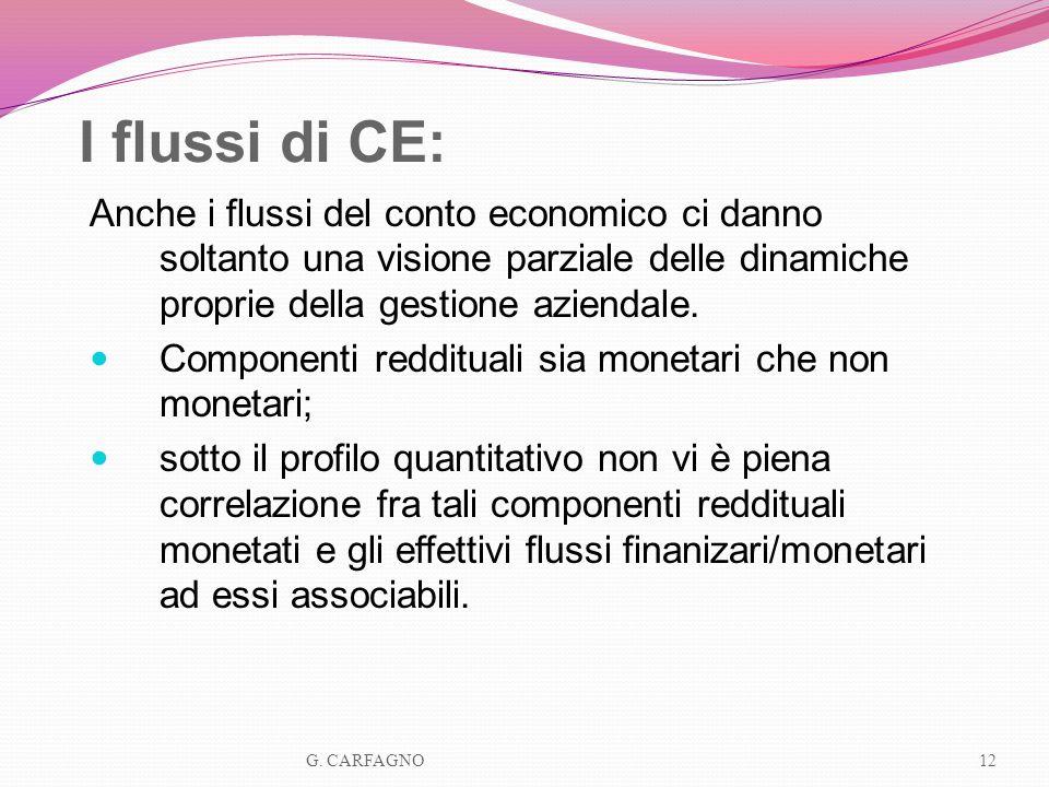 I flussi di CE:Anche i flussi del conto economico ci danno soltanto una visione parziale delle dinamiche proprie della gestione aziendale.