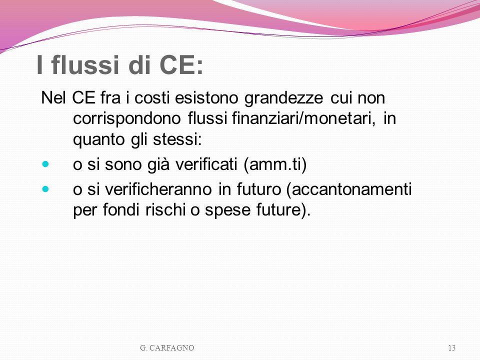 I flussi di CE:Nel CE fra i costi esistono grandezze cui non corrispondono flussi finanziari/monetari, in quanto gli stessi: