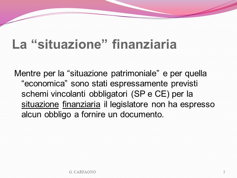 La situazione finanziaria