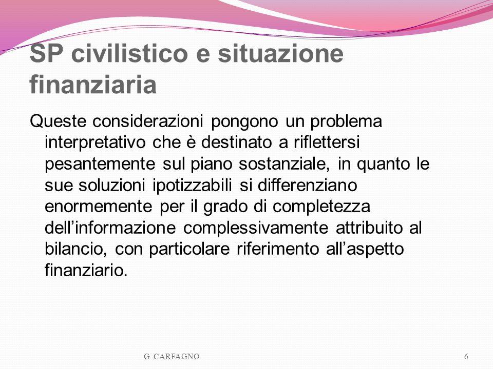 SP civilistico e situazione finanziaria