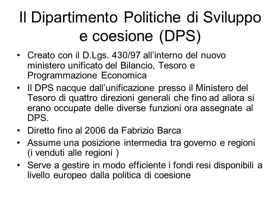 Il Dipartimento Politiche di Sviluppo e coesione (DPS)