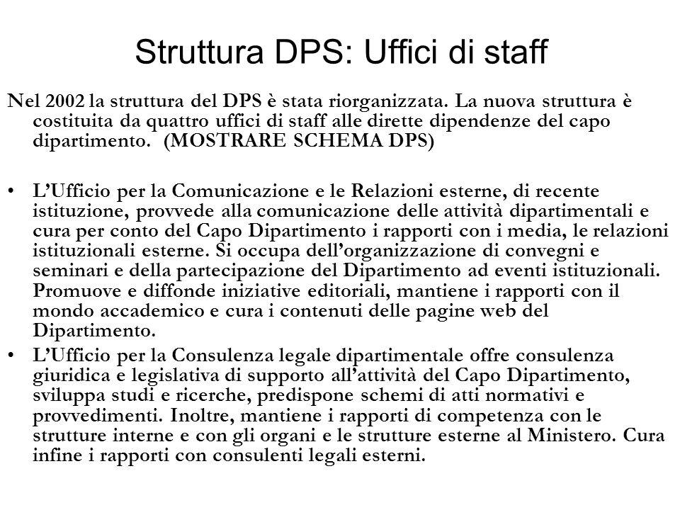 Struttura DPS: Uffici di staff