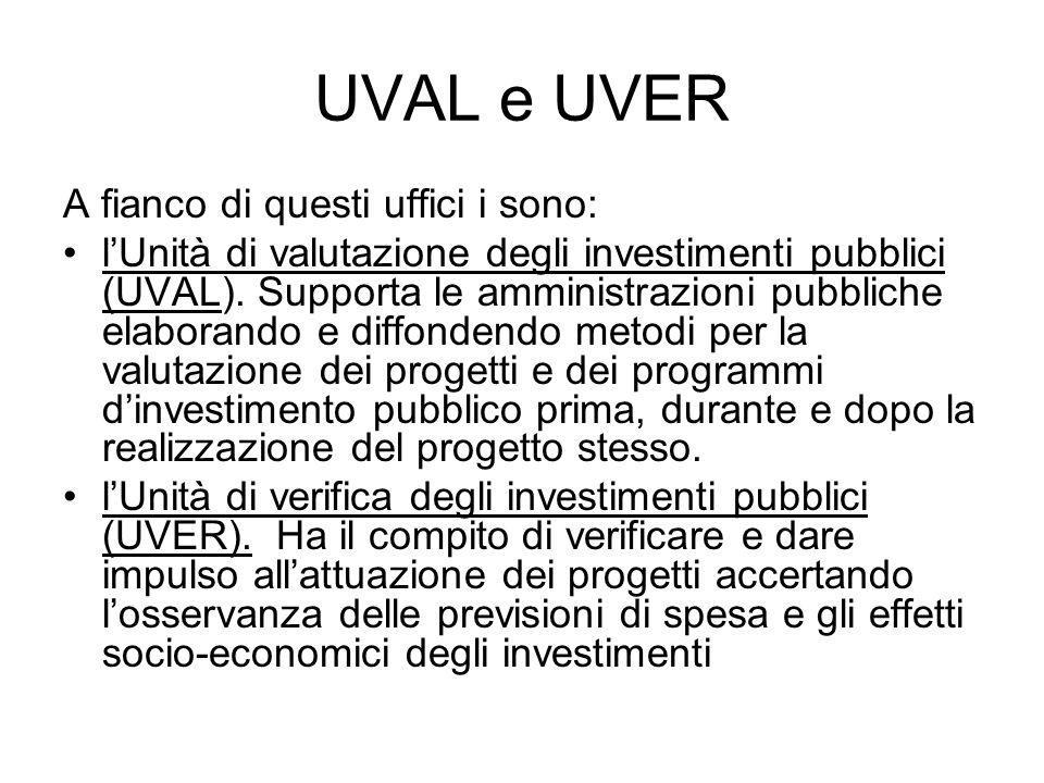 UVAL e UVER A fianco di questi uffici i sono: