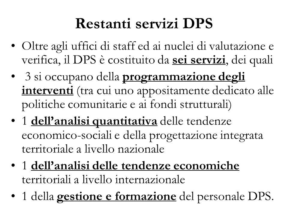 Restanti servizi DPS Oltre agli uffici di staff ed ai nuclei di valutazione e verifica, il DPS è costituito da sei servizi, dei quali.