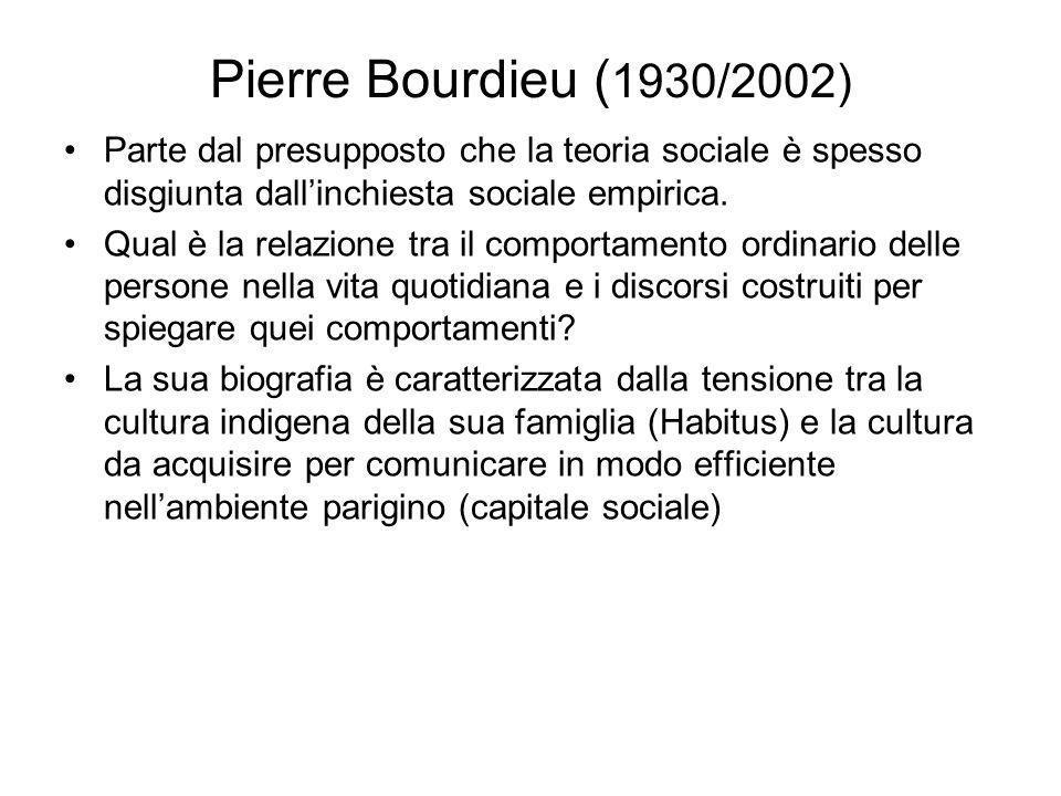 Pierre Bourdieu (1930/2002) Parte dal presupposto che la teoria sociale è spesso disgiunta dall'inchiesta sociale empirica.