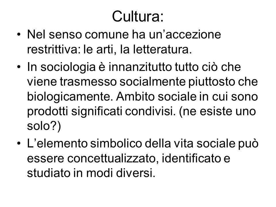 Cultura: Nel senso comune ha un'accezione restrittiva: le arti, la letteratura.