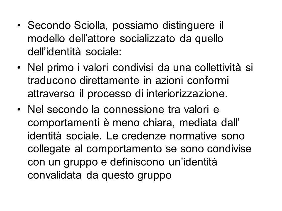 Secondo Sciolla, possiamo distinguere il modello dell'attore socializzato da quello dell'identità sociale:
