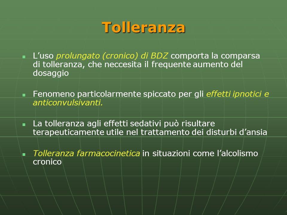 Tolleranza L'uso prolungato (cronico) di BDZ comporta la comparsa di tolleranza, che neccesita il frequente aumento del dosaggio.