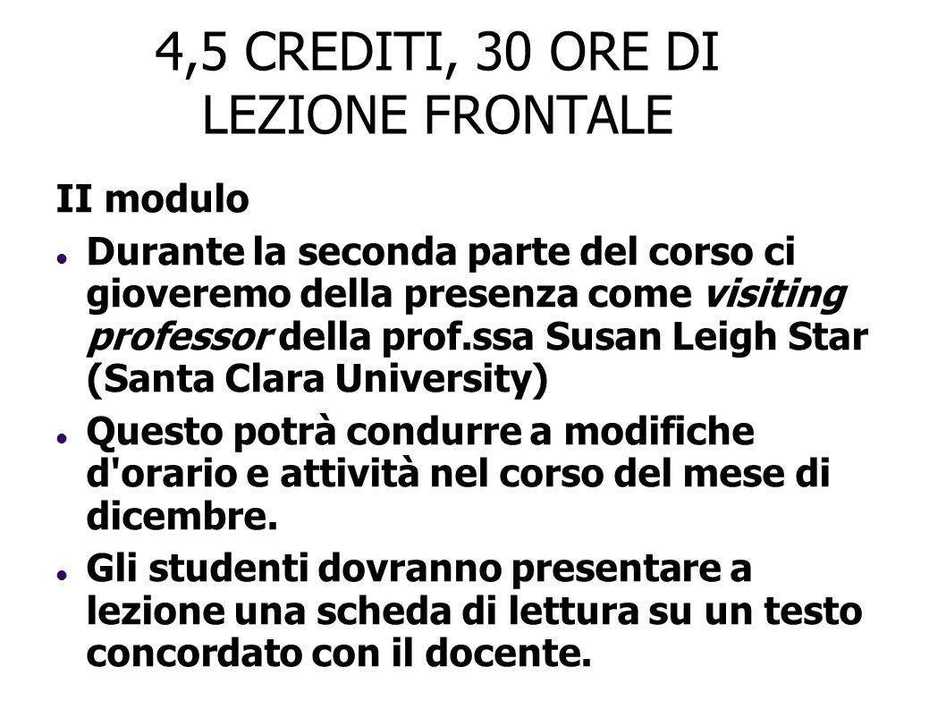 4,5 CREDITI, 30 ORE DI LEZIONE FRONTALE