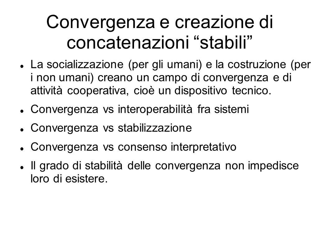 Convergenza e creazione di concatenazioni stabili