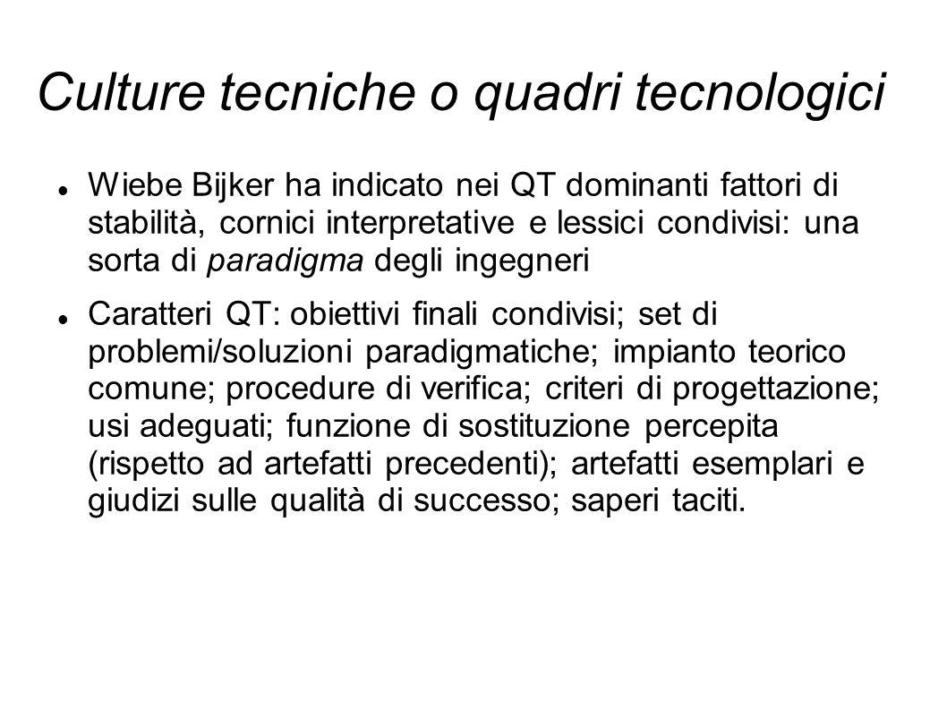 Culture tecniche o quadri tecnologici