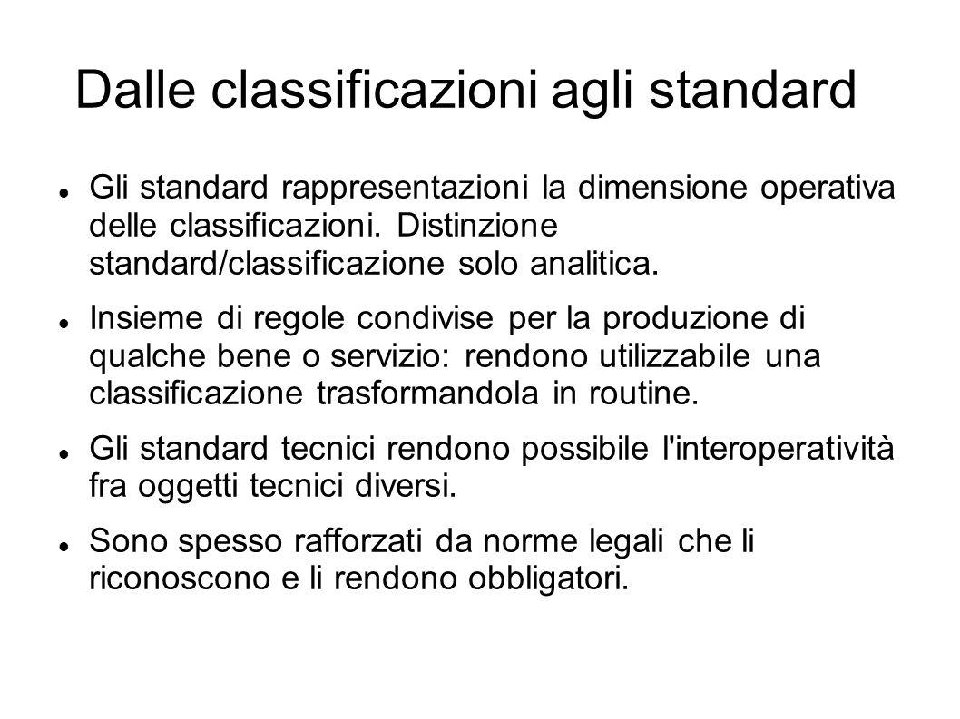 Dalle classificazioni agli standard