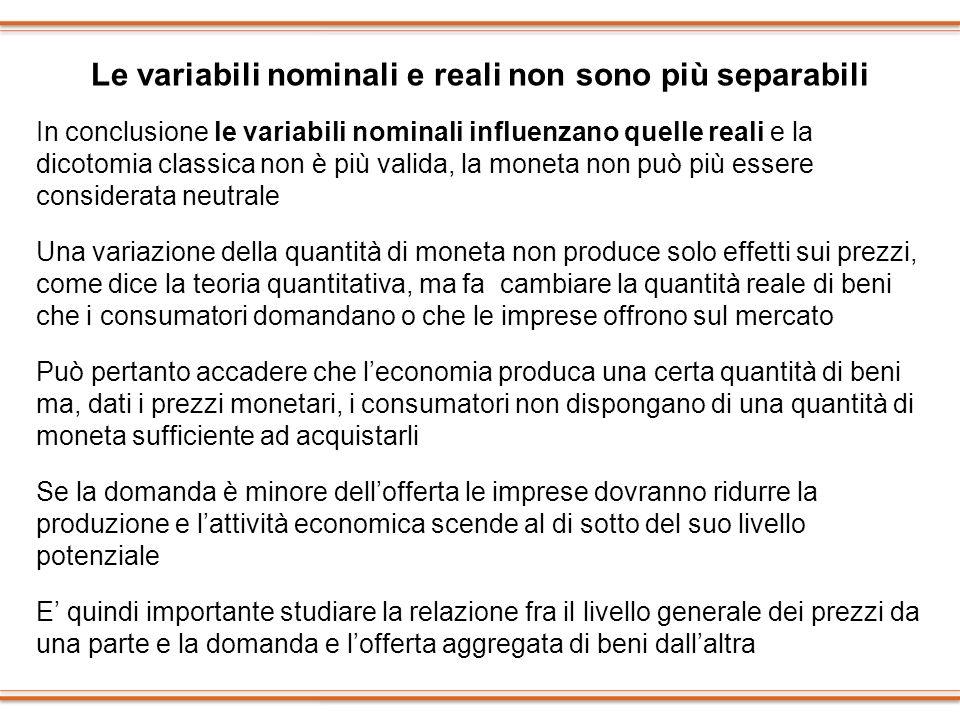 Le variabili nominali e reali non sono più separabili