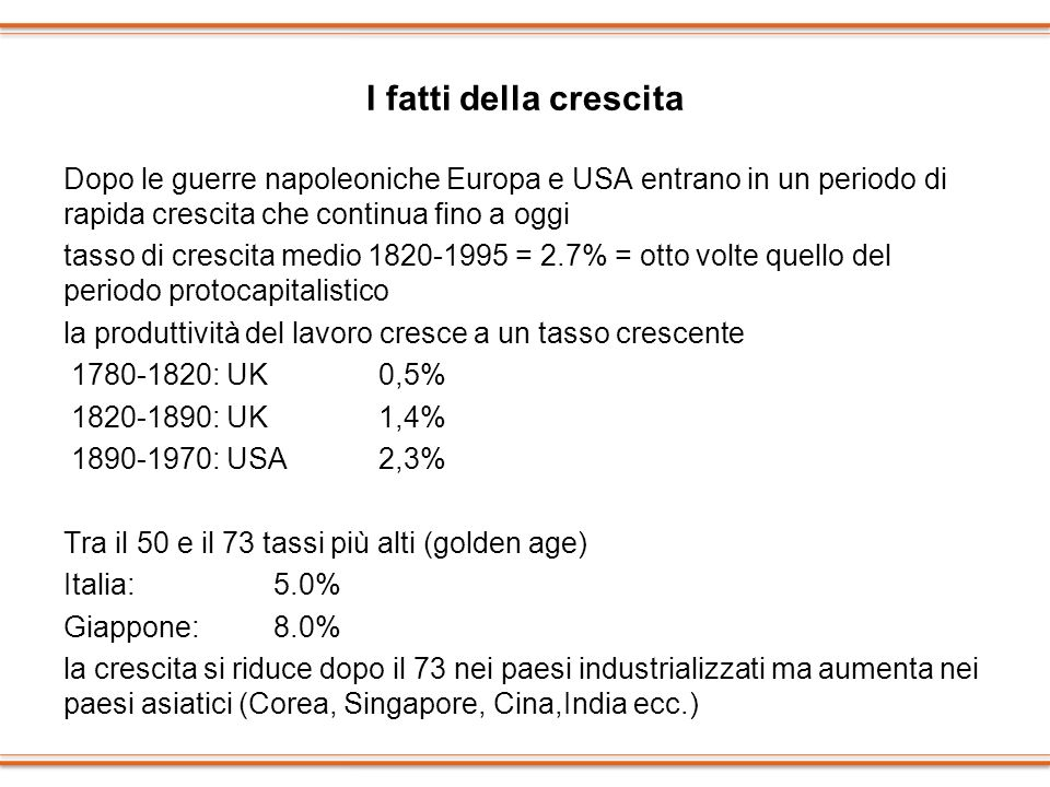 I fatti della crescita Dopo le guerre napoleoniche Europa e USA entrano in un periodo di rapida crescita che continua fino a oggi.