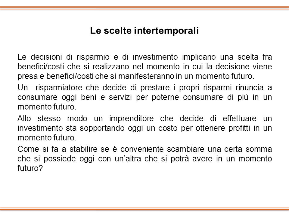 Le scelte intertemporali
