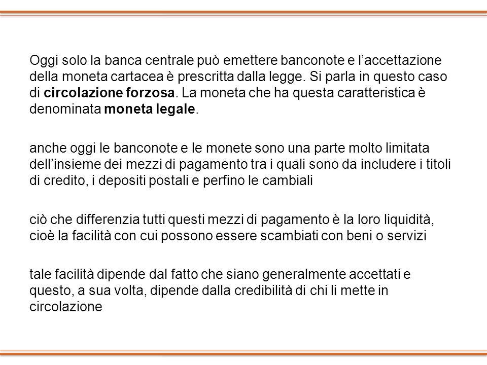 Oggi solo la banca centrale può emettere banconote e l'accettazione della moneta cartacea è prescritta dalla legge.