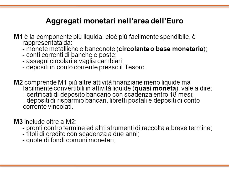 Aggregati monetari nell area dell Euro