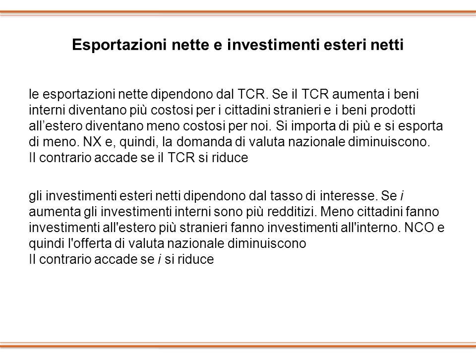 Esportazioni nette e investimenti esteri netti