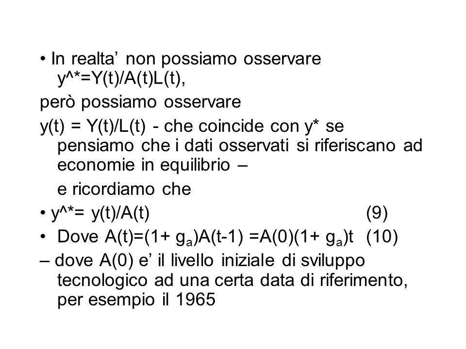 • In realta' non possiamo osservare y^*=Y(t)/A(t)L(t),