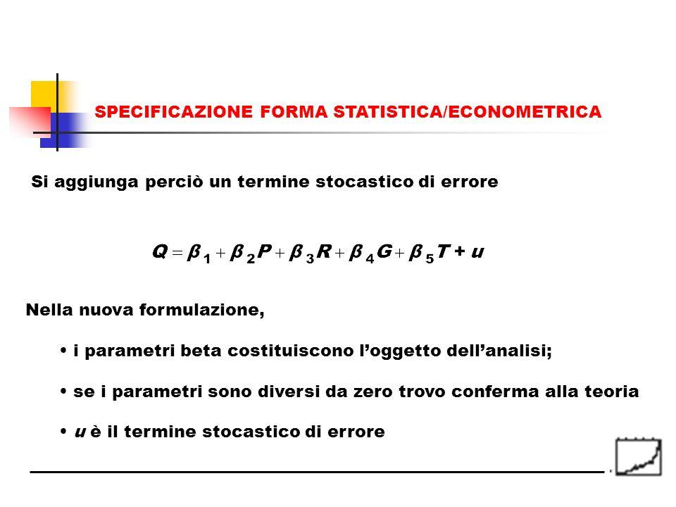 SPECIFICAZIONE FORMA STATISTICA/ECONOMETRICA