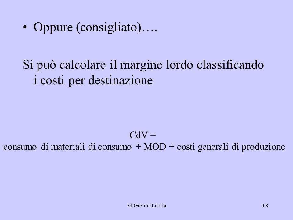 consumo di materiali di consumo + MOD + costi generali di produzione