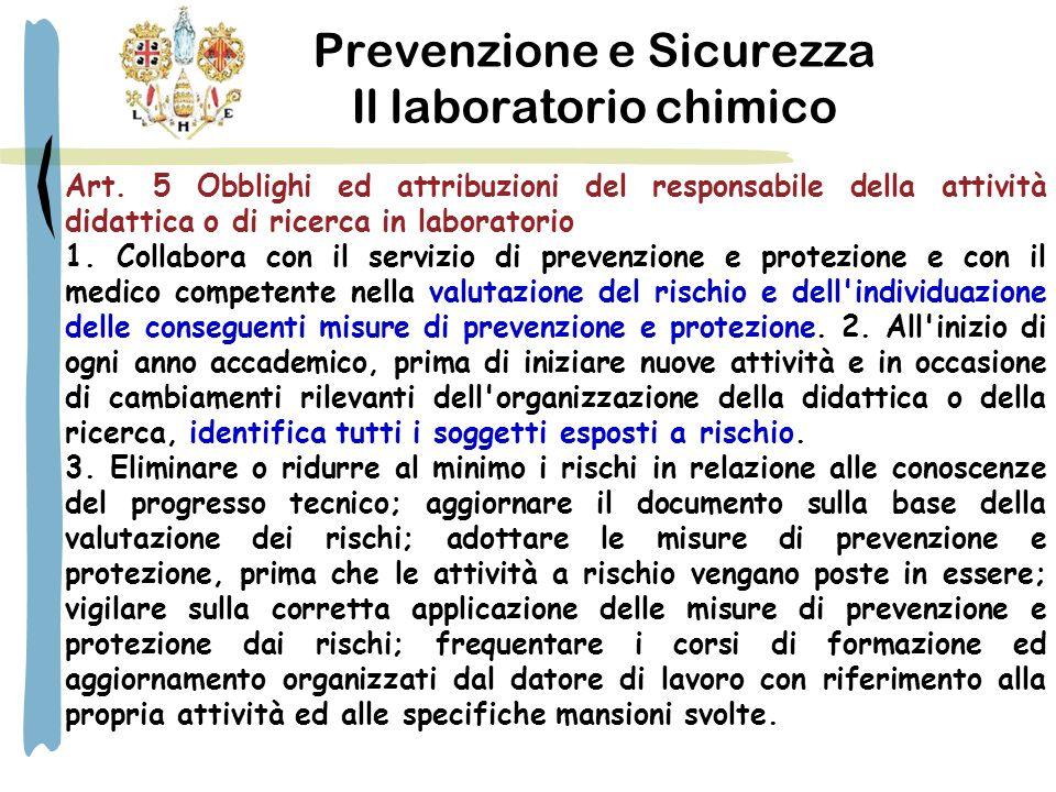Prevenzione e Sicurezza Il laboratorio chimico