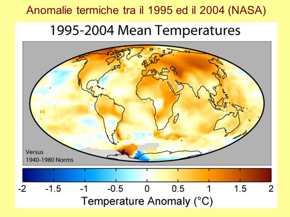 Anomalie termiche tra il 1995 ed il 2004 (NASA)