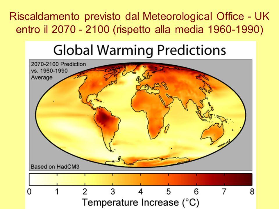 Riscaldamento previsto dal Meteorological Office - UK entro il 2070 - 2100 (rispetto alla media 1960-1990)