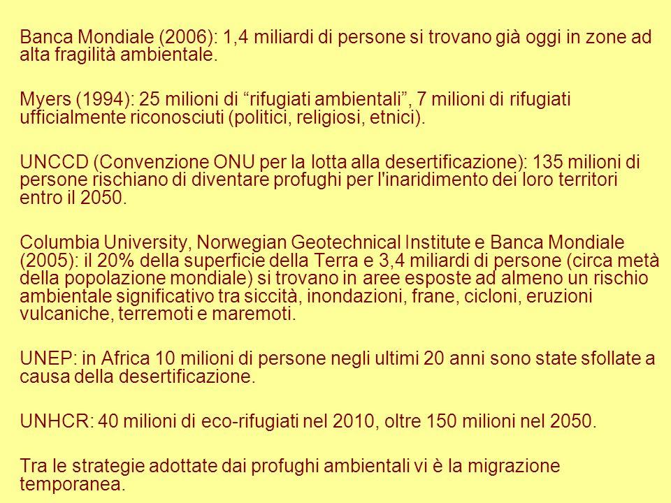 Banca Mondiale (2006): 1,4 miliardi di persone si trovano già oggi in zone ad alta fragilità ambientale.