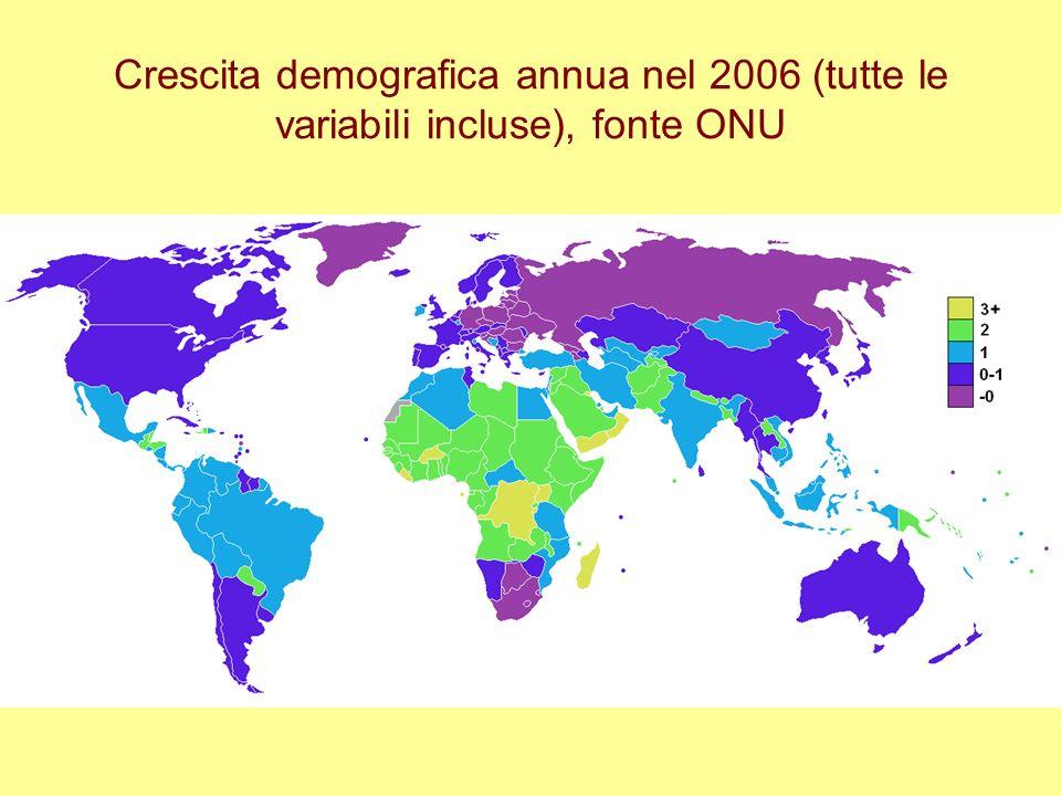 Crescita demografica annua nel 2006 (tutte le variabili incluse), fonte ONU