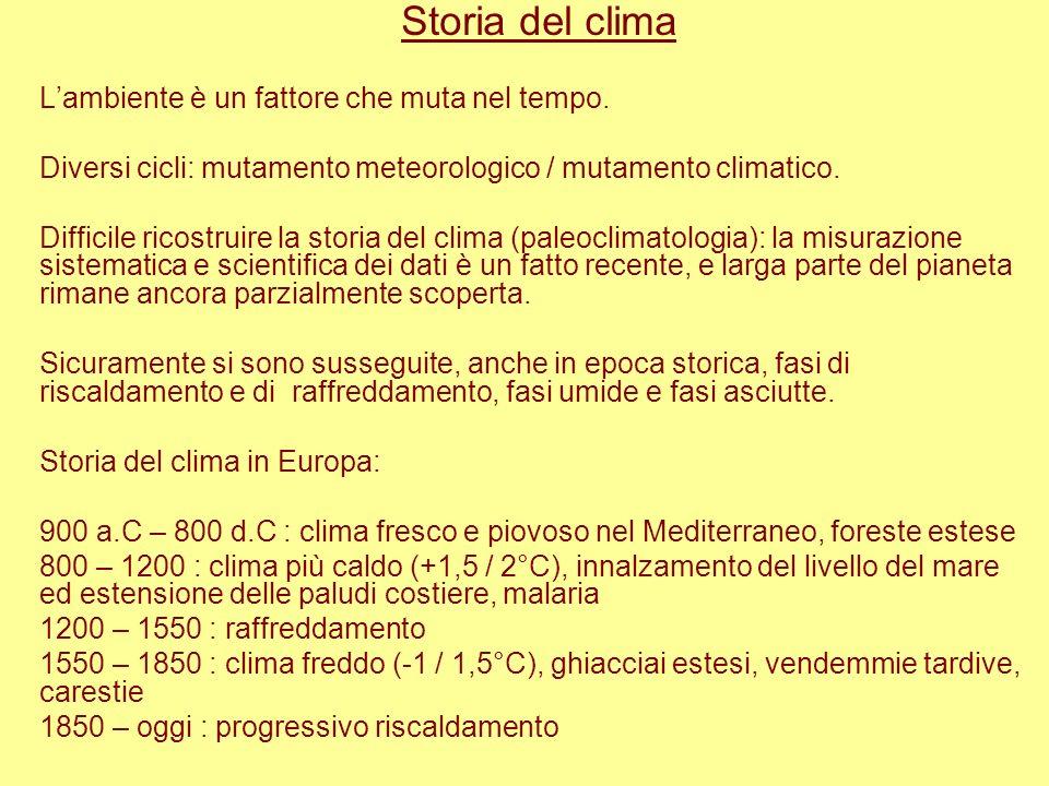 Storia del clima L'ambiente è un fattore che muta nel tempo.