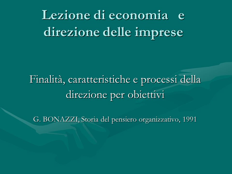 Lezione di economia e direzione delle imprese