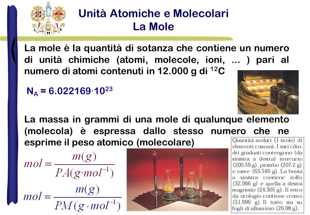 Unità Atomiche e Molecolari La Mole