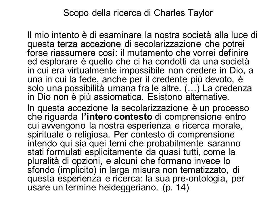 Scopo della ricerca di Charles Taylor