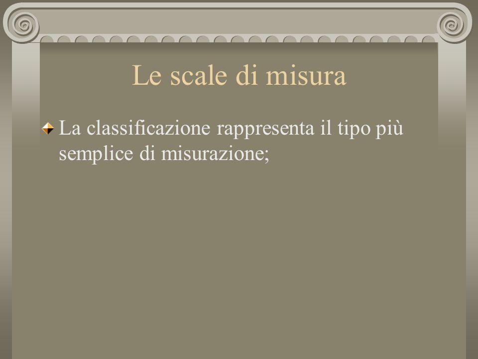 Le scale di misura La classificazione rappresenta il tipo più semplice di misurazione;