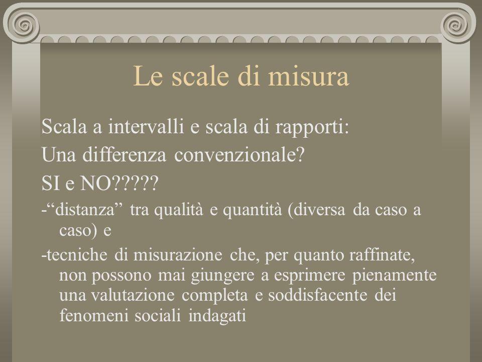 Le scale di misura Scala a intervalli e scala di rapporti: