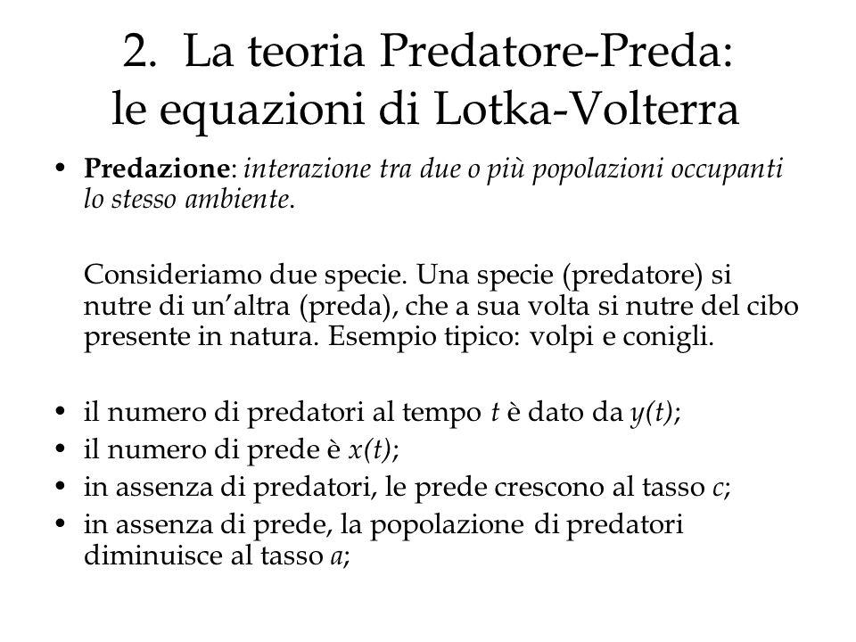 2. La teoria Predatore-Preda: le equazioni di Lotka-Volterra